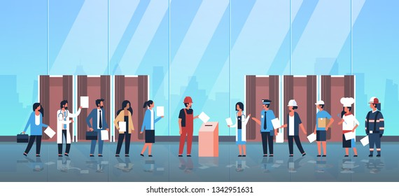 election day concept different occupations voters casting ballots at polling place mix race people putting paper ballot in box voting booths hall interior full length flat horizontal