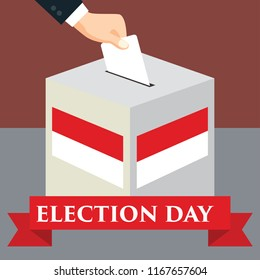 Election day in Indonesia with red white flags in vote ballot. envelope above vote ballot. vector illustration