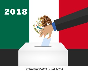 Election day in Mexico 2018. hand holding envelope above vote ballot. vector illustration