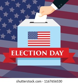 Election day in United States of America with USA flags in background. hand inserting envelope into vote ballot. vector illustration