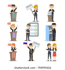 Election and debates with voting ballot boxes, voters and candidates.