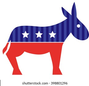 Election donkey. Vote. Isolated on white