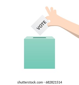 Election, The hand fill vote card in the box  illustration vector on white background. Election concept.