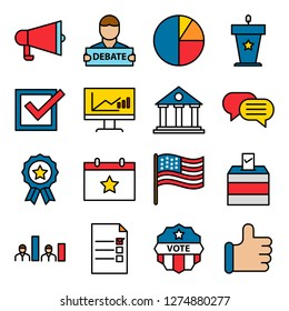 Election icons pack. Isolated election symbols collection. Graphic icons element
