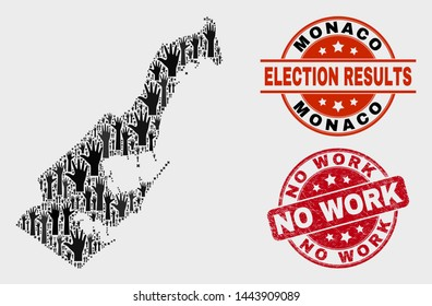 Election Monaco map and seal stamps. Red rounded No Work textured stamp. Black Monaco map mosaic of raised election arms. Vector collage for election results, with No Work watermark.