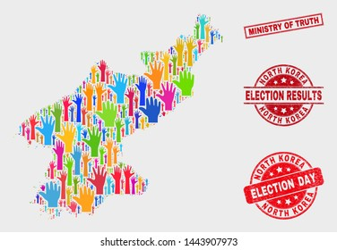Election North Korea map and watermarks. Red rectangle Ministry of Truth distress seal stamp. Colorful North Korea map mosaic of raised up ballot arms. Vector combination for election day,