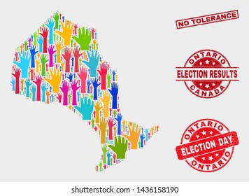 Election Ontario Province map and watermarks. Red rectangular No Tolerance grunge seal. Bright Ontario Province map mosaic of upwards ballot arms. Vector collage for election day, and ballot results.