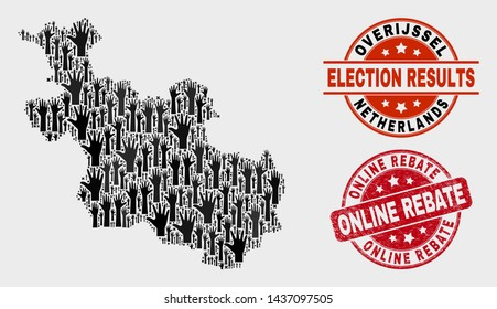 Election Overijssel Province map and stamps. Red round Online Rebate textured seal stamp. Black Overijssel Province map mosaic of raised up agree arms. Vector combination for election results,