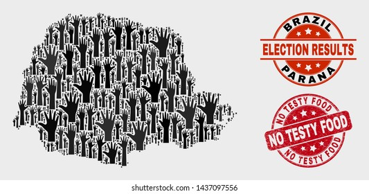 Election Parana State map and watermarks. Red round No Testy Food textured seal stamp. Black Parana State map mosaic of raised decision arms. Vector collage for election results,