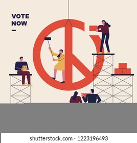 An election promotional poster with the concept of building a voting mark. flat design style vector graphic illustration.