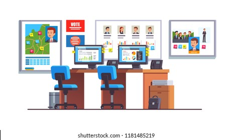 Election race campaign headquarters with analyst desk, computers, chairs, wall posters, map, progress diagrams, candidate portraits. Politician campaign managers HQ office. Flat vector illustration