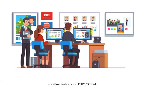 Election race campaign headquarters analyst team working together analyzing candidates polls data. Politician HQ office workers and campaign manager. Flat style isolated vector illustration