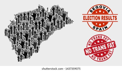 Election Segovia Province map and watermarks. Red round No Trans Fat textured seal stamp. Black Segovia Province map mosaic of upwards solution hands. Vector composition for election results,
