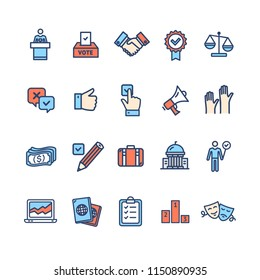Election Signs Color Thin Line Icon Set Include of Checkbox, Scales and Suitcase. Vector illustration of Voting Icons