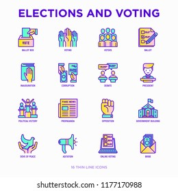 Election and voring thin line icons set: voters, ballot box, inauguration, corruption, debate, president, political victory, propaganda, bribe, agitation. Modern vector illustration.