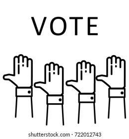 Election voting concept. Hands raised up in the air isolated on white background with text 'vote', flat thin line style. Black and white. EPS10 vector illustrtion.