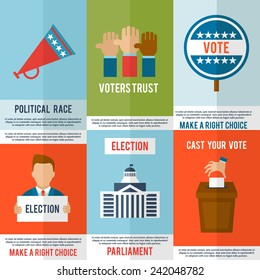 Election voting and debate mini poster set isolated vector illustration