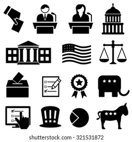 Election and voting icon set