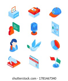 Election and voting - modern colorful isometric icons set. Politics and electioneering concept. Ballot box, lectern, microphone, completed paper, candidate, dove, results, book of oath, calendar