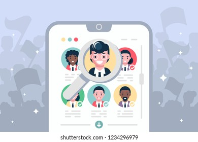 Election voting online on modern smartphone vector illustration. Using mobile gadgets such as laptop tablet or mobile for e-voting via electronic internet system flat style concept