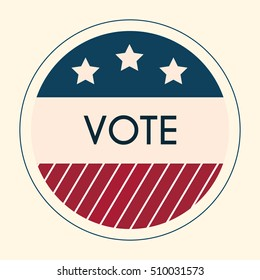 Election Voting Sticker and Badge. American Flag's Symbolic Elements - Red Stripes and White Stars.