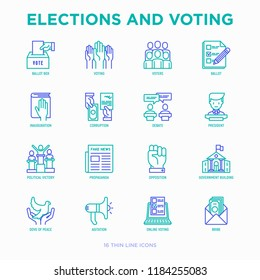Election and voting thin line icons set: voters, ballot box, inauguration, corruption, debate, president, political victory, propaganda, bribe, agitation. Modern vector illustration.