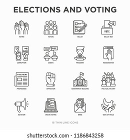 Election and voting thin line icons set: voters, ballot box, inauguration, corruption, debate, president, political victory, propaganda, bribe, agitation. Modern vector illustration.