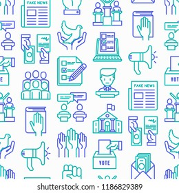 Election and votings seamless pattern with thin line icons: voters, ballot box, inauguration, corruption, debate, president, political victory, propaganda, bribe, agitation. Modern vector illustration