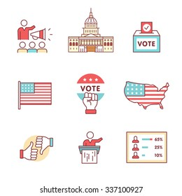 Elections, campaign and voting signs set. Thin line art icons. Flat style illustrations isolated on white.