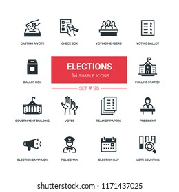 Elections - flat design style icons set. Voting members, ballot, check box, casting a vote, polling station, government building, ream of papers, president, campaign, policeman day counting