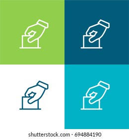 Elections green and blue material color minimal icon or logo design