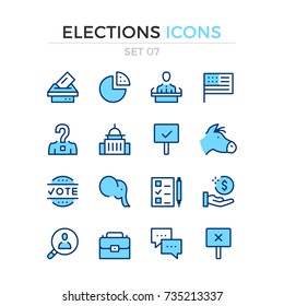 Elections icons. Vector line icons set. Premium quality. Simple thin line design. Modern outline symbols, pictograms.
