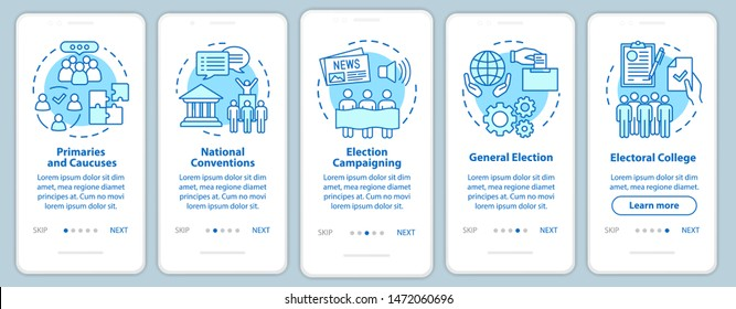 Elections onboarding mobile app page screen with linear concepts. Political and social events. Five walkthrough steps graphic instructions. UX, UI, GUI vector template with illustrations