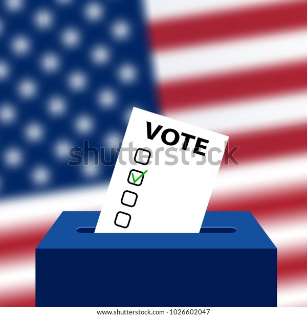 Elections to US Senate in 2018, preparation of vote against the background of a blurred American flag. Box for ballot in election. Electoral Bulletin with a green check mark. Template for US elections