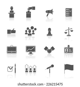 Elections and voting black icons set with rating debate megaphone isolated vector illustration