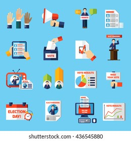 Elections and voting flat icons set of rating diagram candidate list tv news and vote result graphs isolated vector illustration