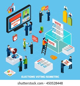 Elections and voting isometric design composition with people busy in tv advertising of election day debates and voter counting flat vector illustration
