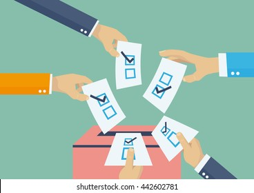 Elections voting, politics and elections illustration, hands leaving votes