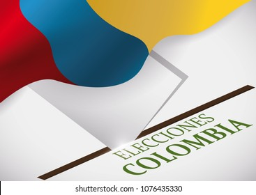 Electoral box, Colombian flag and vote: elements that promote suffrage in Colombia next electoral event (written in Spanish).