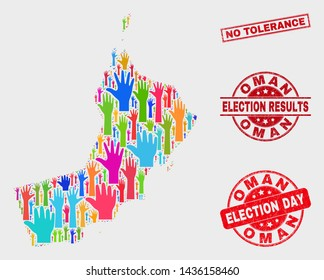 Electoral Oman map and watermarks. Red rectangular No Tolerance textured stamp. Colorful Oman map mosaic of raised election arms. Vector collage for election day, and ballot results.