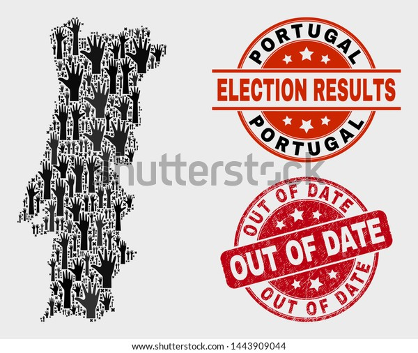 Electoral Portugal Map Stamps Red Rounded Stock Vector