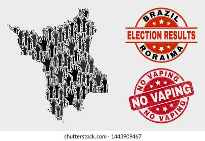 Electoral Roraima State map and seal stamps. Red rounded No Vaping distress seal. Black Roraima State map mosaic of raised electoral arms. Vector collage for referendum results, with No Vaping stamp.