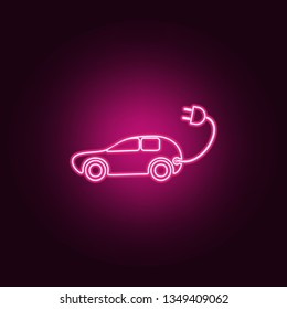 Electra car icon. Elements of Ecology in neon style icons. Simple icon for websites, web design, mobile app, info graphics