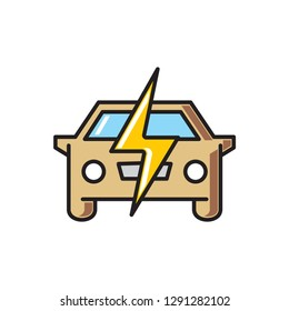 Electri car icon on white background for graphic and web design, Modern simple vector sign. Internet concept. Trendy symbol for website design web button or mobile app