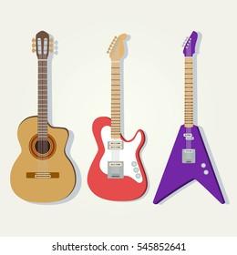 Electric, acoustic (classic), bass guitars. Popular music instrument. Cute vector set.