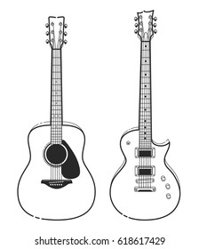 Electric and Acoustic Guitars. Outline style guitars vector art.