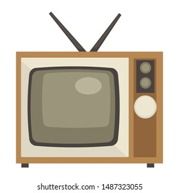 Electric appliance, TV set with antenna of 60s, retro device in 1960s style isolated screen with channel switcher vector. Television for living room, old technology. Watch movie or video broadcasting