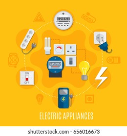 Electric appliances round design with gauges, bulbs, switch, plug socket,  extension cable on yellow background vector illustration