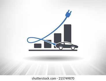 Electric Auto Industry Growth. Graph with electric car. Power cord acts as growth arrow. Fully scalable vector illustration.