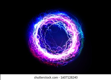 Electric ball. Lightening circle. Thunder bolt. Vector electric discharged effect. Flash, plasma, energy or portal. Dark light sphere isolated on black background.